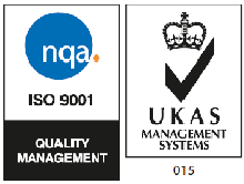 Larger quality logo: NQA ISO 9001 QM, UKAS Management Systems 015